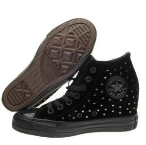 Converse Shoes - NWT Converse Chuck Taylor Lux Wedges Black Velvet 43779d431